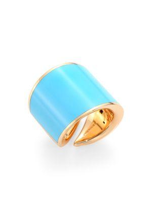 VHERNIER Vague 18K Rose Gold & Turquoise Ring in Blue