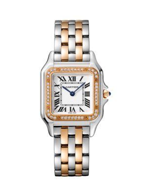Cartier Panthère de Cartier Medium Stainless Steel, 18K Rose Gold & Diamond Bracelet Watch