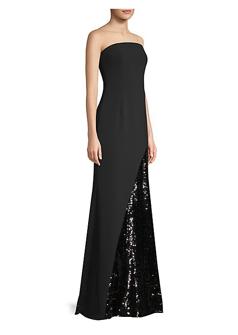 """Image of Eye-catching gown finished with sequin details. Straight across neckline. Strapless. Concealed back zip. Lined. About 59"""" from shoulder to hem. Polyester/polyurethane. Dry clean. Imported. Model shown is 5'10"""" (177cm) and wearing US size 4."""