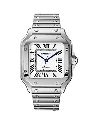 Cartier - Santos de Cartier Medium Steel Leather Strap Watch - saks.com 8322e572261