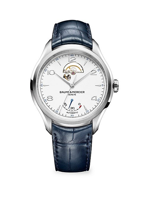 """Image of Distinguished timepiece with luxe alligator strap. Automatic movement. Water resistant to 5 ATM. Domed sapphire crystal. Round satin-finished steel case, 42mm (1.65"""").Sapphire crystal case back. White dial. Arabic numeral and bar hour markers. Open balanc"""