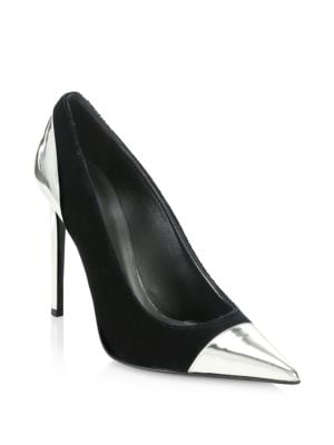 Daphne Duo Mirrored Leather-Trimmed Velvet Pumps, Black/ Silver