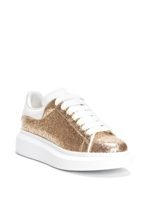 Glitter Platform Leather Sneakers, Gold