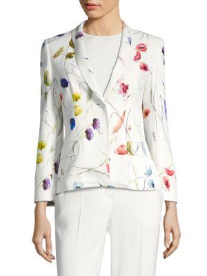 ESCADA Watercolor Floral-Print 2-Button Blazer W/ Sequins in Fantasy