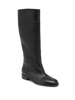 Pixelmod Leather Weave Riding Boots, Black