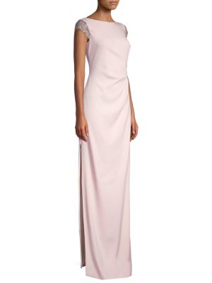 ESCADA Sequined Cap-Sleeve Ruched-Waist Column Crepe Evening Gown in Camelia