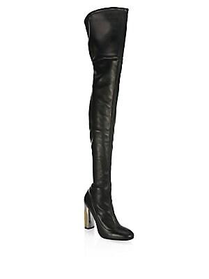 e8684b3649da Saint Laurent - Niki Over-The-Knee Leather Boots - saks.com