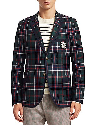 Image of From the Saks IT LIST THE JACKET The wear everywhere layer that instantly dresses you up. MAD FOR PLAID See the traditional check in dozens of new ways. Heritage sportcoat finished in luxe cashmere boasts metal button crest and embroidered patch detail. N