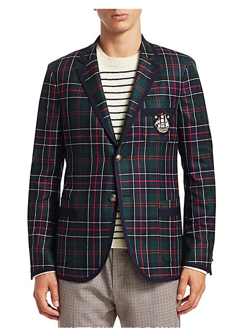 Image of From the Saks IT LIST. THE JACKET. The wear everywhere layer that instantly dresses you up. MAD FOR PLAID. See the traditional check in dozens of new ways. Heritage sportcoat finished in luxe cashmere boasts metal button crest and embroidered patch detail