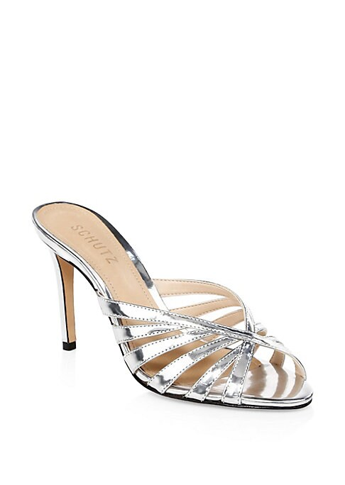 """Image of .Retro-inspired peep toe sandals in luxurious leather. Self-covered heel, 3.03"""" (77mm).Leather upper. Peep toe. Slip-on style. Leather sole. Imported."""