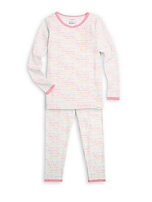 Image of Allover multicolored logo print elevates snug-fitting sleepwear set. Cotton/modal/spandex. Machine wash. Imported. TEE Scoopneck Long sleeves Lace collar and cuffs Pullover style PANTS Elasticized waist Pull-on style Lace hems. Children's Wear - Infant To