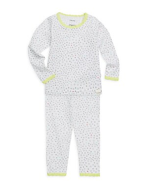 Image of All-over star print and contrast lace accents add whimsy to sleepwear set. Cotton. Machine wash. Imported. TOP Scoopneck Long sleeves Lace collar and cuffs Pullover style BOTTOMS Elasticized waist Pull-on style Lace cuffs. Children's Wear - Infant Toys An