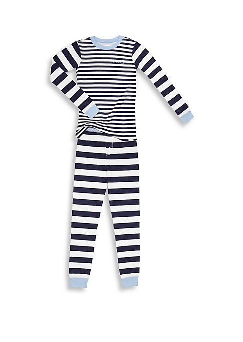 Image of Mixed-width striped sleepwear set with contrast trim. Cotton. Machine wash. Imported. TEE. Roundneck. Long sleeves. Pullover style. PANTS. Elasticized waist. Button fly. Pull-on style.