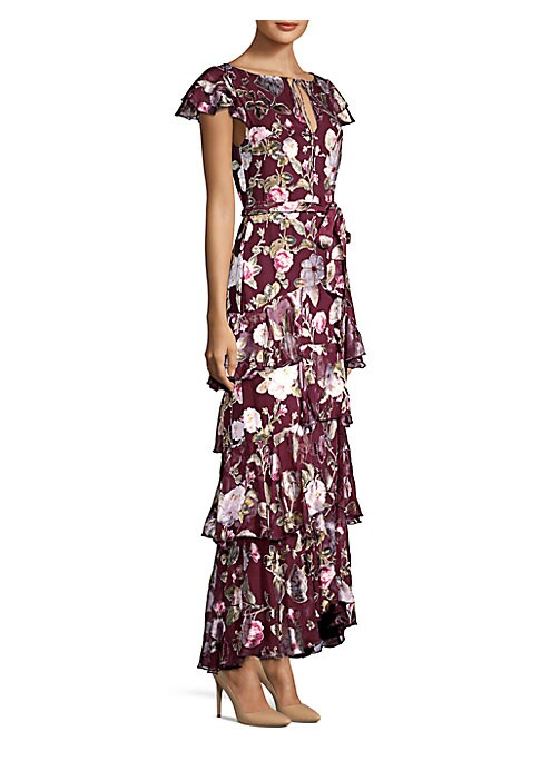 "Image of Airy flutter sleeve dress in artful floral print. Roundneck. Short sleeves. Front keyhole with tie closure. Self-tie at waist. Back zip closure. About 60"" from shoulder to hem. Viscose/silk. Dry clean. Imported. Model shown is 5'10"" (177cm) wearing US siz"