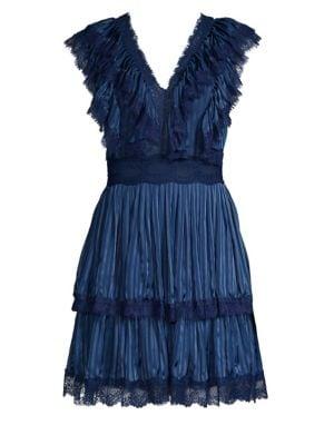 Alice + Olivia Lanora Pleated Tiered V-Back Dress, Mini Stripe Sapphire