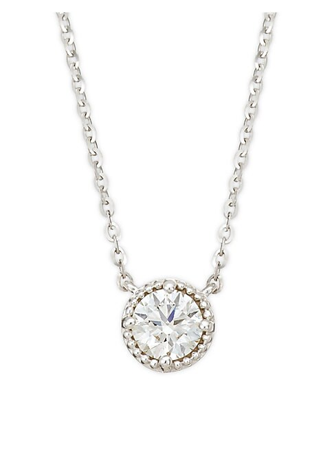 """Image of White gold with a sparkling faceted diamond circle pendant. Diamonds, 0.49 tcw. Diamond color, GH. Diamond clarity, VS-SI.18K white gold. Clasp. Made in USA. SIZE. Length, about 18""""."""