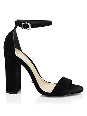 "Image of Suede ankle-strap sandal with covered block heel Covered block heel, 4.3"" (109mm) Suede upper Open toe Buckled ankle strap Leather lining and sole Imported. Women's Shoes - Contemporary Womens Shoe. Schutz. Color: Black. Size: 9.5."