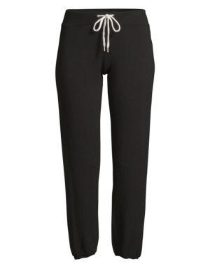 MONROW Side-Slit Sweatpants in Black