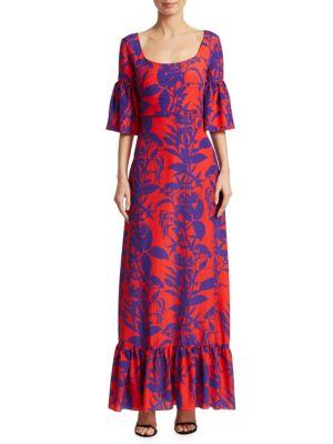 BORGO DE NOR Elena Scoop Neck Dress in Red