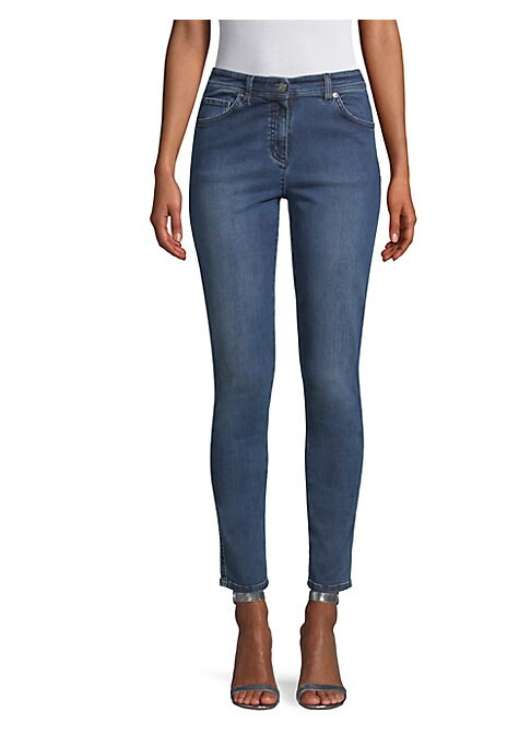 "Image of Cut to a slim leg and cropped at the ankle, these jeans are cut from Italian stretch denim. Five-pocket style. Zip fly. Cotton/lyocell/elasterell/spandex. Dry clean. Made in Italy. SIZE & FIT. Inseam, about 29"".Model shown is 5'10"" (177cm) wearing US size"