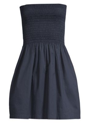 Smocked Poplin Strapless Mini Dress, Midnight