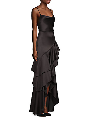 Alice + Olivia - Chantal Floral Satin Pleated A-Line Gown - saks.com