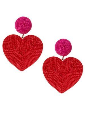 Cora Corded Heart Clip-On Drop Earrings, Red
