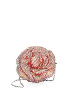 Crystal Beaded Apricot Rose Evening Bag in Pink