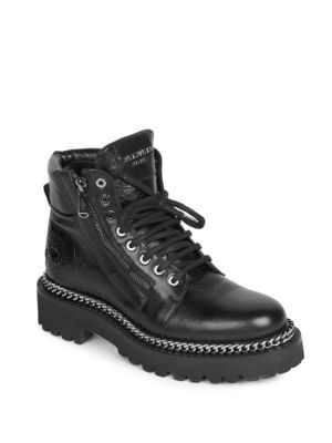 Leather Ankle Boots With Chain Embellishment, Noir