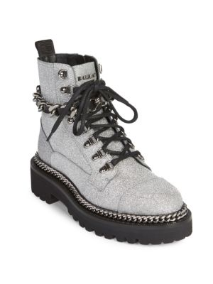 Chain-Embellished Glittered Leather Ankle Boots in Grey