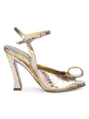 Crocodile-Embossed Metallic Leather Slingback Sandals, Silver