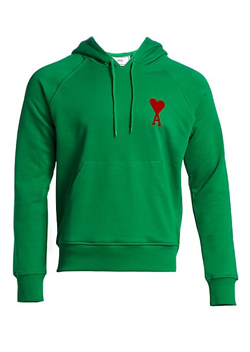 Image of Classic pullover hoodie with a flocked logo at the chest. Attached hood. Long sleeves. Front pouch pocket. Ribbed trim. Cotton. Machine wash. Imported.