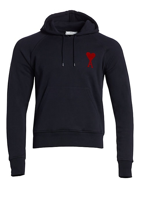 "Image of Classic hooded sweatshirt boasting a kangaroo pocket and frontal logo detail. Attached drawstring hoodie. Raglan sleeves. Ribbed cuffs and hems. Pullover style. Kangaroo pocket. Cotton. Machine wash. Made in Portugal. SIZE & FIT. About 30"" from shoulder t"