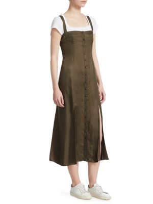 Alexa Sleeveless Button-Front Midi Dress in Olive