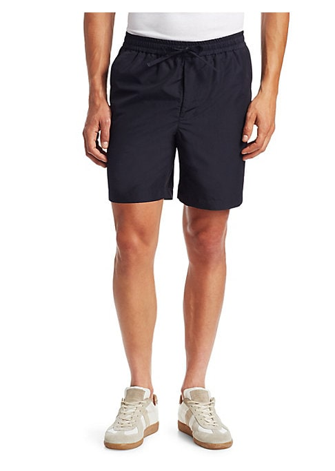 "Image of Casual cotton shorts perfect for running around town. Drawstring waist. Slip pockets. Back buttoned pockets. Rise, 9"".Inseam, 19"".Leg opening, 24"".Cotton. Machine wash. Made in Italy."