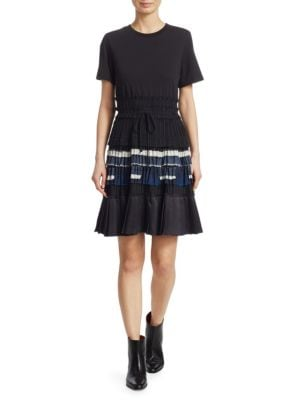 Pleated Fit-And-Flare Dress in Black