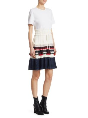 Pleated Fit-And-Flare Dress, White