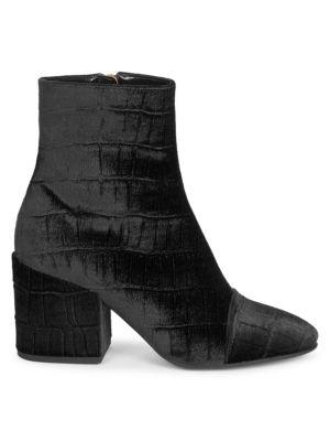 DRIES VAN NOTEN Embossed Velvet Ankle Bootie in Black