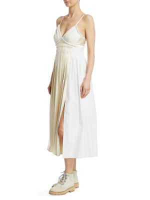 Pleated Paneled Cotton, Silk And Satin Midi Dress in White