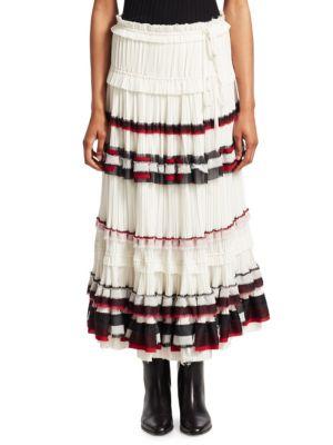 Pleated Striped Midi Skirt, Off White