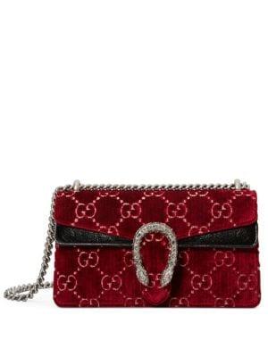 Dionysus Small Velvet Gg Supreme Shoulder Bag, Red Cipria/ Black Diamond