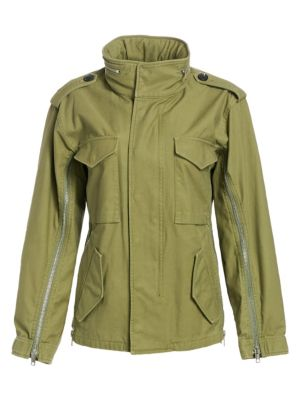 Hooded Cotton-Canvas Jacket, Olive