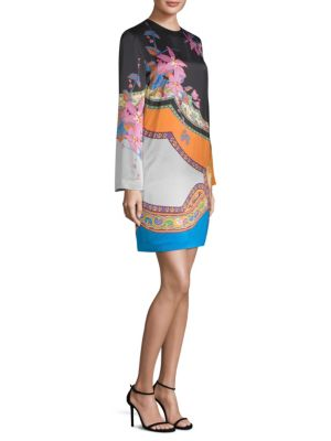 Colorblock Floral-Print Paisley Shift Dress, Navy