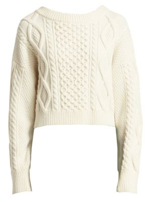 5c9139475f44c3 3.1 Phillip Lim - Long-Sleeve Cropped Boxy Cable Knit Sweater