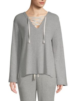 Elyce Lace-Up Ribbed Cotton-Blend Jersey Top, Heather Grey