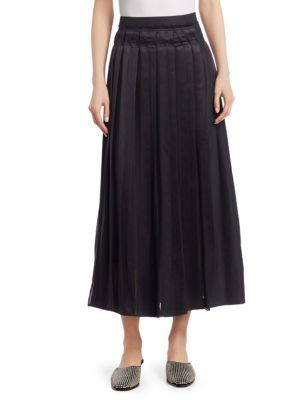 Black Pleated Poplin Midi Skirt