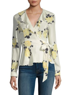 Floral Wrap Blouse in 115 Vainilla Ice