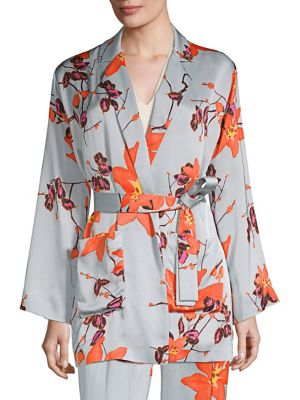 Floral Printed Satin Kimono Top in Blue