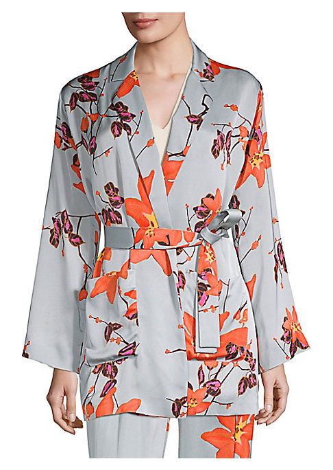 Image of This luscious satin robe takes form in a billowy jacket. Designed with a stunning floral print and a self-tie waist, it offers a sumptuous fit to this jacket. Notch lapels. Long kimono sleeves. Self-tie waist. Waist patch pockets. Satin finish. Viscose. D