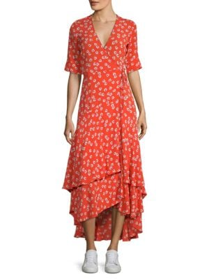 Floral-Print Crepe De Chine Wrap Maxi Dress, Big Apple Red
